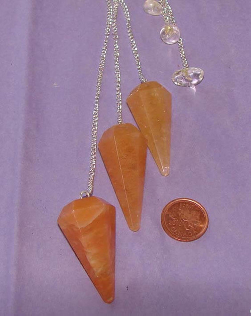Orange Aventurine pendulums for dowsing with Clear Quartz bead or nugget at end of chain