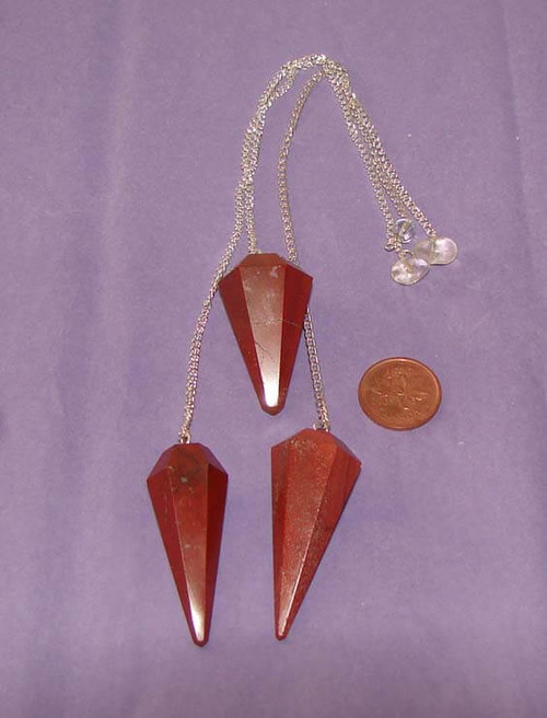 Red Jasper six sided pointed pendulum with crystal bead on chain
