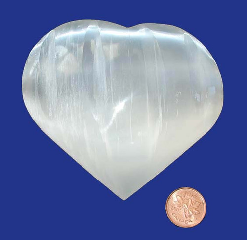 Selenite Polished & Carved Hearts - 3-1/2 inches wide