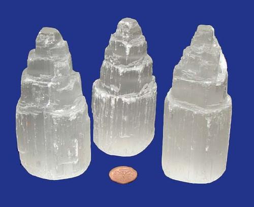 Selenite stone skyscraper points - 4 inch - size small