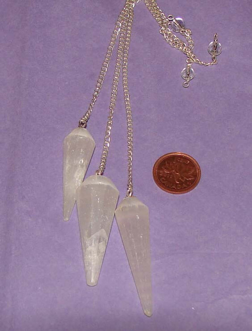 Selenite pointed pendulums with Clear Quartz bead at end of chain