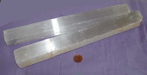 Rough Selenite Crystal Stick from Morocco, Size 600 to 699 grams, 11 to 12 inches long