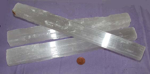 Raw Selenite Crystal Sticks from Morocco, Size 500 to 599 grams, 11 to 12 inches long