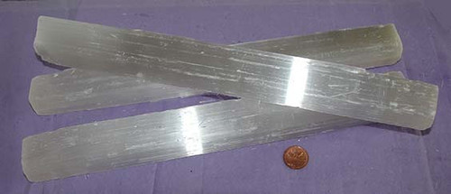Raw Selenite Stick from Morocco, Size 400 to 499 grams, 11 to 12 inches long