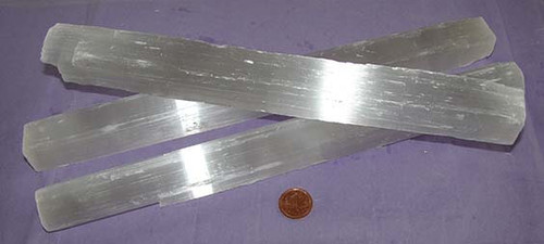 Selenite Stone Satin Logs from Morocco, Size 300 to 399 grams, 11 to 12 inches long