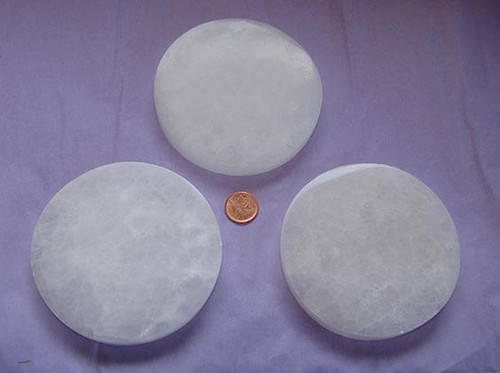 Round Selenite Charging Plate from Morocco, Approximately 4 inch diameter by 5/8 inch thick