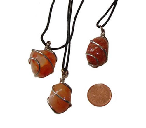 Carnelian Wrapped Tumbled Stone Necklaces