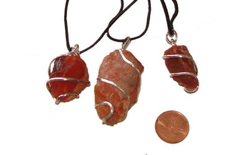 Carnelian Wrapped Rough Stone Necklaces
