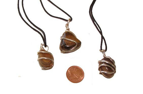 Tiger Eye Wrapped Tumbled Stone Necklaces
