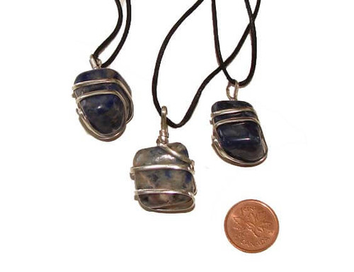 Sodalite Wrapped Tumbled Stone Necklaces - Image 1
