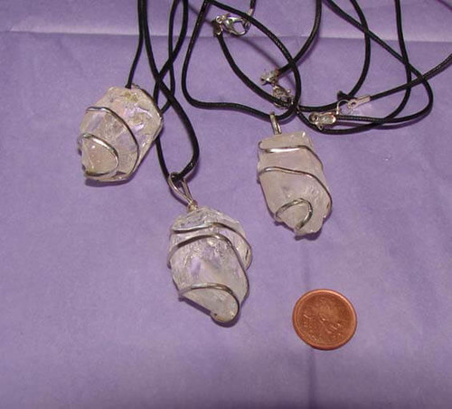 Clear Quartz Wrapped Rough Stone Necklaces - Image 1