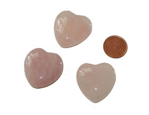 Rose Quartz Puffy Heart Stones