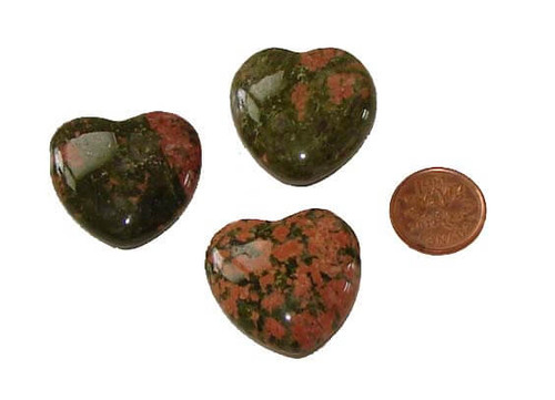 Unakite Gemstone Hearts 30 mm