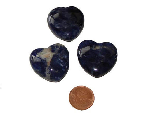 Sodalite Polished Stone Hearts 30 mm