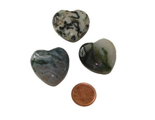 Green Moss Agate gemstone hearts 30 mm