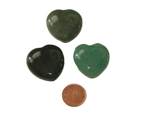 Green Aventurine Heart Shaped Stones 30 mm