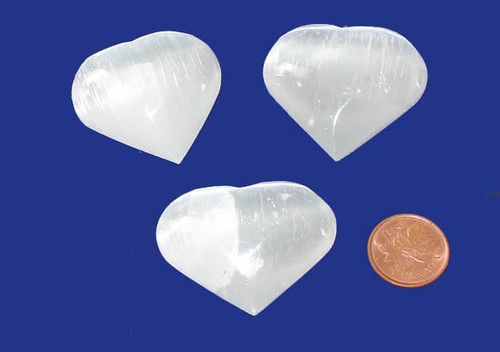 Selenite Polished Crystal Hearts 35 mm