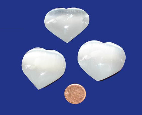 Selenite Polished Crystal Hearts 40 mm