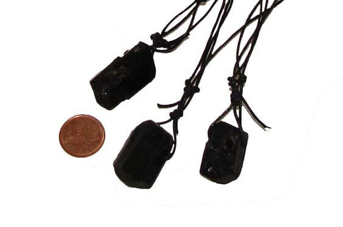 Black Tourmaline drilled necklaces - size medium