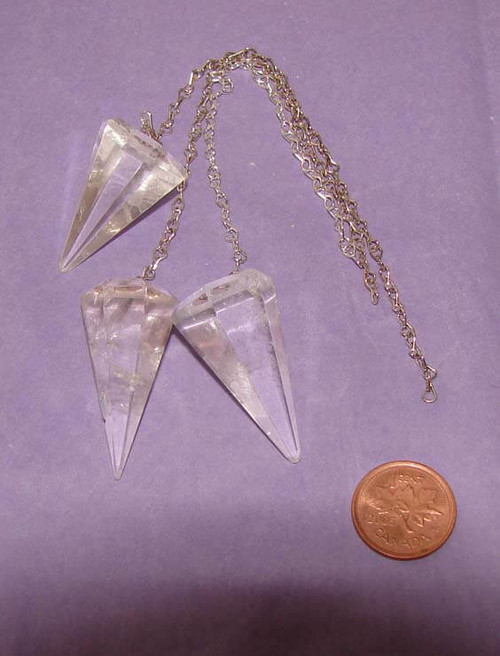 Pointed Clear Quartz Pendulums with plain chain
