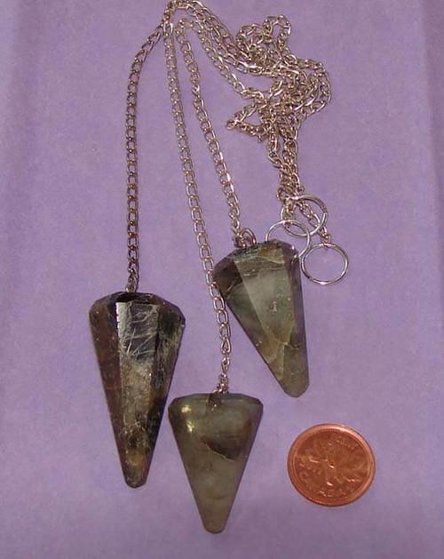 Labradorite pointed dowsing pendulums with o-ring