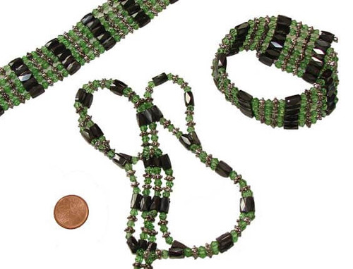 Hematite Magnetic Healing Wrap with Green Beads