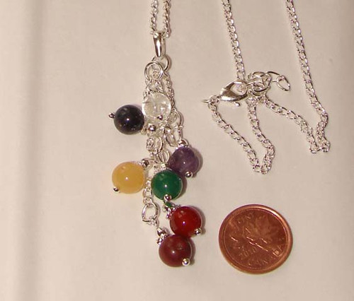 Chakra Dangling Beads Chain Necklace, Image 1