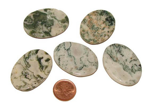 Dendritic Tree Agate Worry Thumb Stones