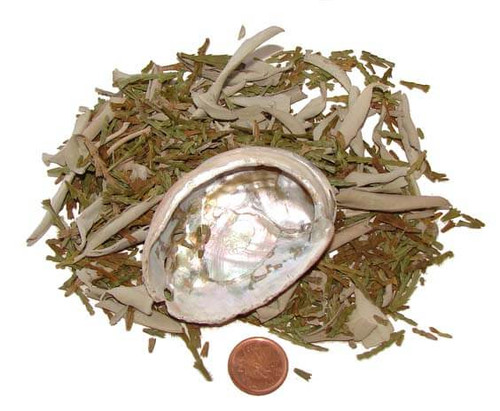 Sage & Cedar cleansing herbs with small abalone shell