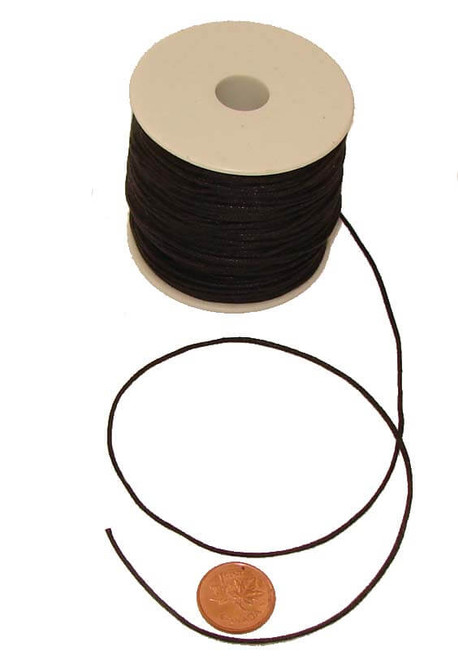 Black Braided & Waxed Cotton Jewelry Cord, 1 mm thick, image 1