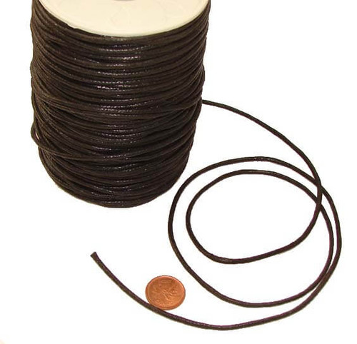 Black Braided & Waxed Cotton Jewelry Cord, 2 mm thick, image 1