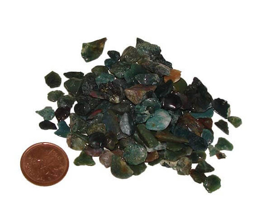 Tumbled Loose Bloodstone Chips from India, 28 grams