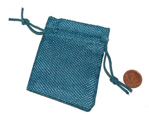 Turquoise Burlap Drawstring Pouches, 2-1/2 x 3-1/4 inches