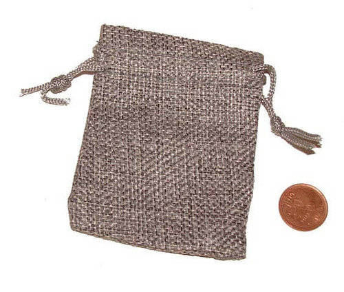 Gray Burlap Drawstring Pouches, 2-1/2 x 3-1/4 inches