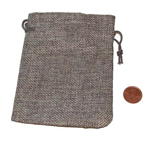 Gray Burlap Drawstring Pouches, 3-1/2 x 5 inches