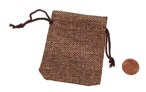 Brown Burlap Drawstring Pouches, 2-1/2 x 3-1/4 inches