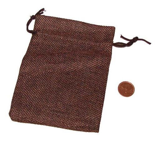 Coconut Brown Burlap Drawstring Bags, 3-1/2 x 5 inches