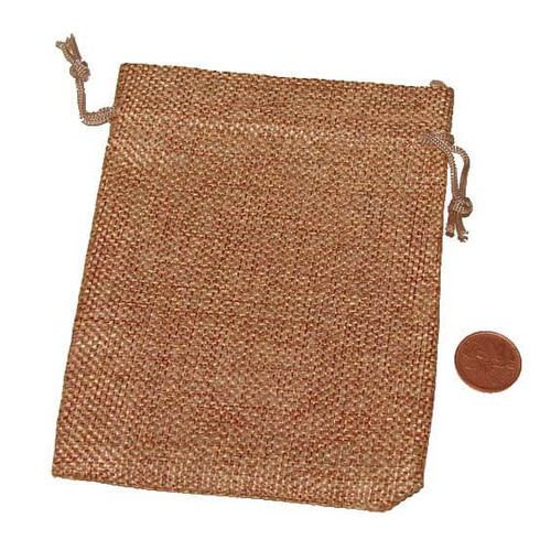 Golden Brown Burlap Draw String Bag, 3-1/2 x 5 inches