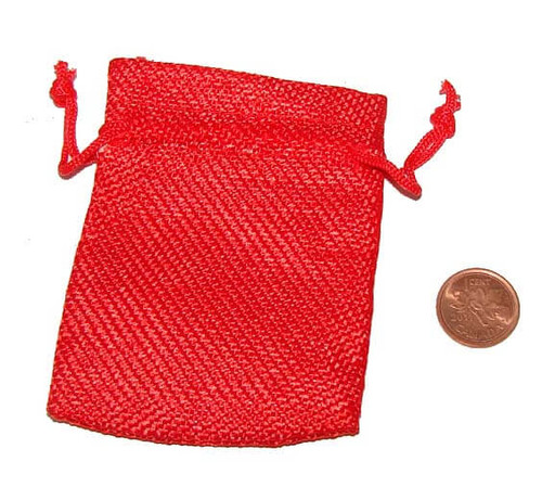 Red Burlap Drawstring Pouches, 2-1/2 x 3-1/4 inches