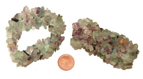 Fluorite Chip Bracelets, 1-1/4 inches wide