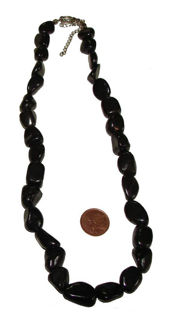 Shungite Tumbled Stone Necklace, 15-20 mm beads, 60 to 84 grams