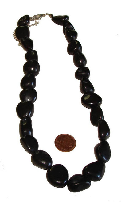 Shungite Tumbled Stone Necklace, 15-20 mm beads, 85 to 110 grams
