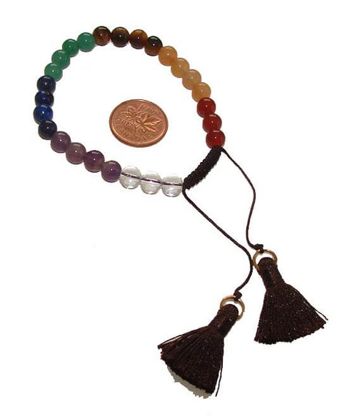 Chakra 8 mm Round Bead Bracelet, Dark Brown Tassel, Adjustable Nylon Cord