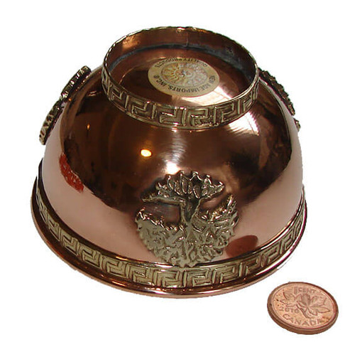 Copper Smudge & Offering Bowl with Tree of Life design, image 1