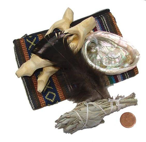 Traveller's  Smudge Kit - pouch, sage, shell, cobra stand & feather