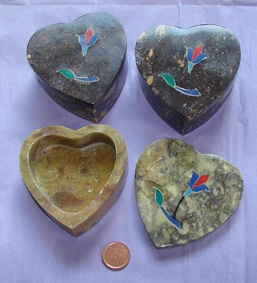 Heart Shaped Stone Box with Lid & Inlaid Flower Design