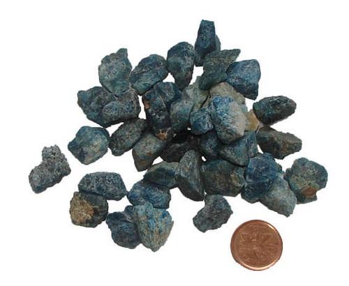 Blue Apatite raw stones, size teeny