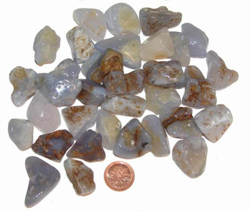 Tumbled Blue Chalcedony stones - size small