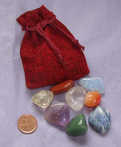 Set of Chakra stones with burgundy burlap pouch