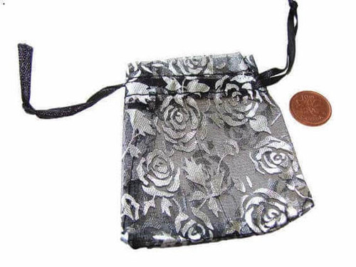 Black Organza Draw String Bags with Silver Flower Design